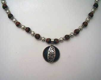 Deep Blue and Red Sparkling Goldstone Necklace