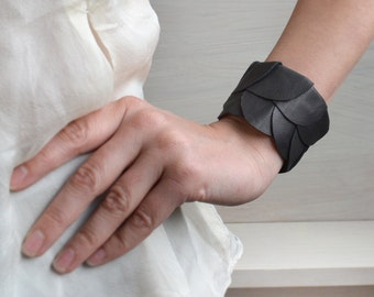 Scalloped leather bracelet/ One of a kind bracelet/ unique leather bracelet.