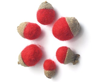 Red felted acorns