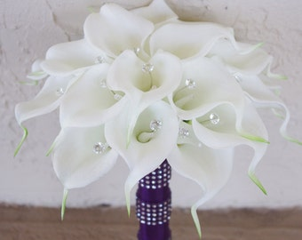 Silk Flower Wedding Bouquet - Calla Lilies Off White Natural Touch with Crystals Purple Accent Silk Bridal Bouquet