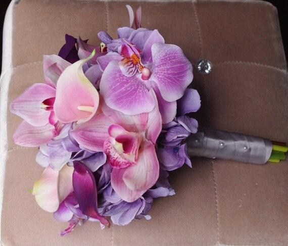 Bouquet Ortensie E Orchidee : Viola mix di rosa e lilla lavanda tocco naturale orchidee