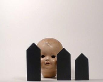 Black wooden houses, home decoration, tabletop art sculptures wood, Halloween Home decor