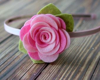 Felt flower headband - HARD HEADBAND - pink flower headband - toddler, girls headband