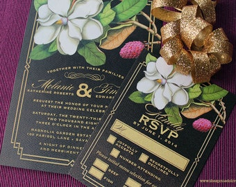 Magnolia Wedding Invitations & RSVP Cards - DIY Printable File For Printing On Your Own - Rustic Floral Wedding Invitation Set