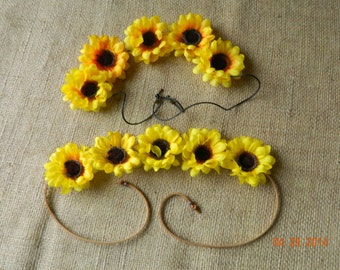 Sunflower headband with leather tie
