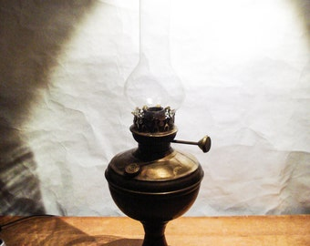 Brass Prop Oil Lamp with Glass Chimney Vintage