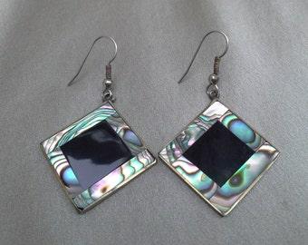 Abalone, Black Onyx  and Real Alpaca Silver Pierced Earrings