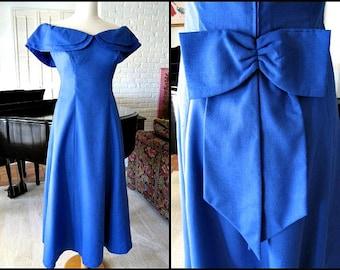 PRISCILLA of BOSTON Vintage 60s 1960s Gown Dress / fits S / Sapphire Blue