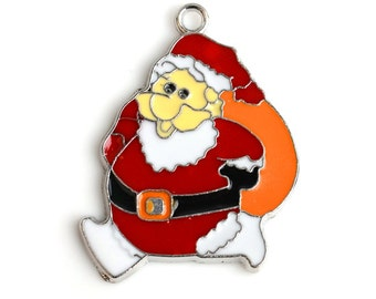 10pcs/lot Santa Claus Pendant Beautiful on Christmas Day Gifts,Key Chain Charms, PT-839