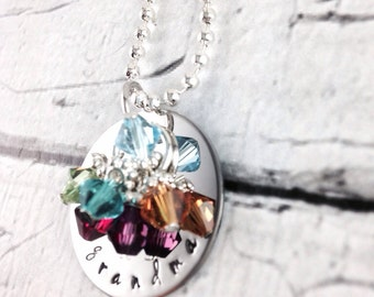 Grandma hand stamped personalized birthstone necklace
