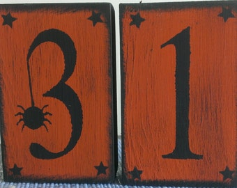 "Halloween ""31"" Spider Shelf Sitter Blocks"
