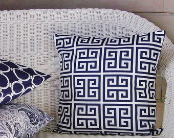 Navy Blue Throw Pillow Cover Geometric Greek Key Decorative Accent 16x16 18x18 20x20 22x22 12x16 12x18 12x20 14x22 Indigo White Zipper