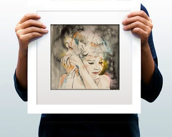Watercolor Print . Wall art Portrait,  boy and a duck. Еxcitement