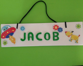 Wooden Name Plaque, Custom made,