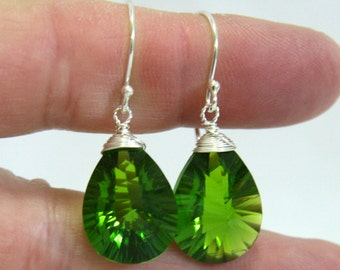 Deep Green Peridot Earrings In Solid Sterling Silver,  August BIrthstone , Wire Wrapped , 16th Anniversary , from Canada , Lime Green