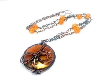 Amber boho pendant. Summer wirewrapped pendant.Copper pendant.