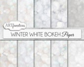 """Bokeh digital papers """"WINTER WHITE BOKEH"""" White digital backgrounds, Bokeh Background for Scrapbookers, Photographers, invitations and more"""