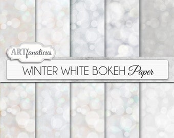 "Bokeh digital papers ""WINTER WHITE BOKEH"" White digital backgrounds, Bokeh Background for Scrapbookers, Photographers, invitations and more"