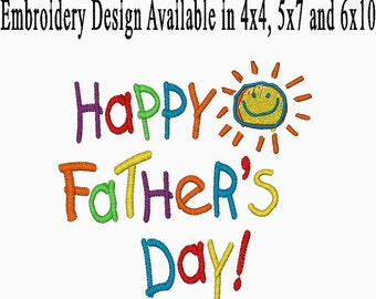 Happy Father's Day Embroidery Design Available in 4x4, 5x7 and 6x10