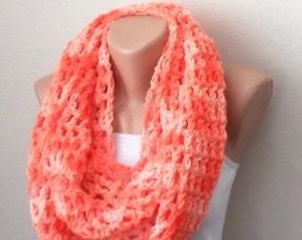 orange knit infinity scarf orange circle scarf crochet scarf