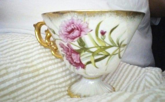 Vintage Ucagco January Carnation Tea  Cup Delicate Beautiful