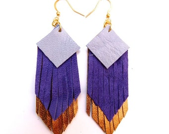 Fringed geometric tassel eco leather earrings, in Dutsty Light Blue, Cobalt and shimmering dark gold hand-cut layers