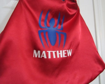Custom Superhero cape: spider super hero cape with full name; personalized superhero birthday gift
