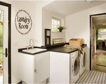 Laundry Room Loads of Fun Drop Your Drawers Here Vinyl Wall Art Decor (# LR-MIX-1)