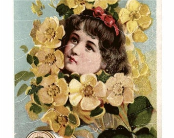 Vintage Thread Advertisement Card– Girl with Yellow Roses - Thread Cards