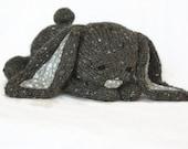 Hand Knit Bunny Rabbit  Grey Tweed Blue Gray Flowers Collectible Children's Toy Alpaca Wool Stuffed Plush