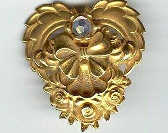Vintage Yellow Gold Tone  Round Aurora Borealis Rhinestone Designer Digned Jane jewel Pin Brooch     W