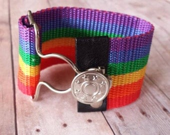 Gay Pride - Adjustable - Rainbow Bracelet - Men - Women - Equality - Overall Buckle Bracelet - Wide Cuff