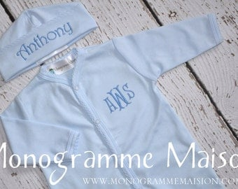 Coming Home Outfit - Baby Boy Outfit - Monogrammed Baby Outfit - Baby Shower Gift - Newborn Pictures Outfit - Footed Sleeper - Pima Cotton