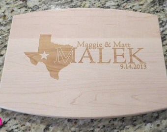 Personalized State Cutting Board - laser engraved - 9x12