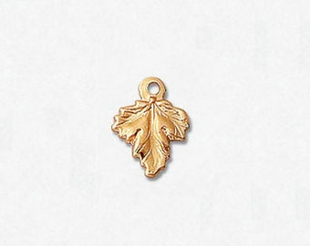 14k Gold Filled Charm Leaf w/Ring 7.5 x 9.6mm , 2 Pieces, Made in USA