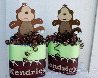 Monkey Boy Diaper Cake Centerpiece