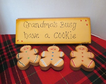 Gingerbread Sign, Grandmother Gift,  Holiday Decoration, Gingerbread Decor, Christmas Decor, Gingerbread Kitchen, Gingerbread Collection