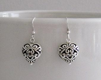 Delicate Celtic Heart Filigree Dangle Earrings-Silver