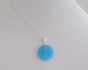Bright Sky Blue Circle Pendant Necklace