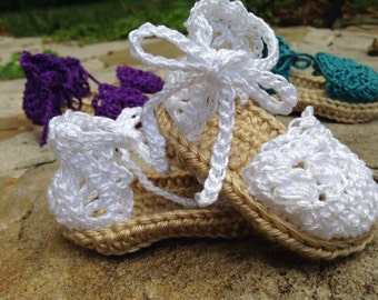 Crochet Baby sandals, baby girl sandals, baby shoes, dainty crochet sandals, white baby sandals, summer baby shoes, baby beach shoes