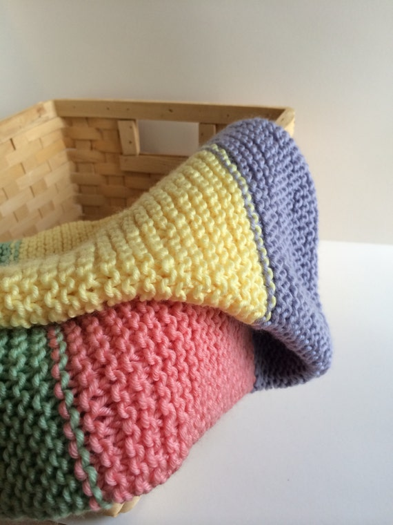 Hand Knit Baby Blanket - Yellow, Purple, Pink, Green