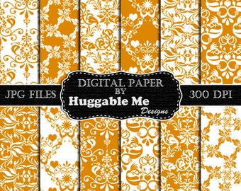 Gold Damask Paper, Gold Scrapbook Paper, Digital Damask Paper, Instant Download Gold Paper - HMD00101