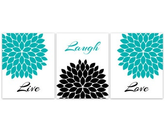 Bedroom Wall Art, INSTANT DOWNLOAD Wall Art, Live Laugh Love, Teal Home  Decor Part 38