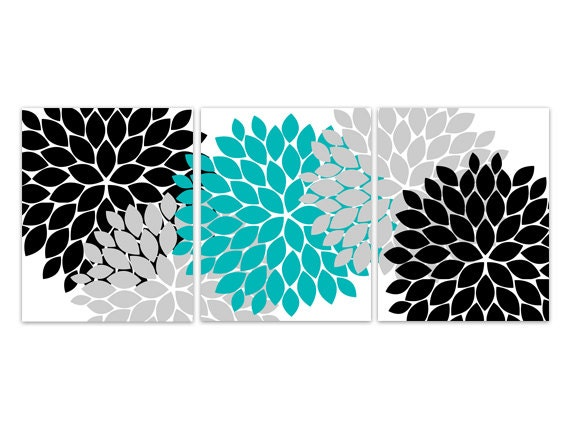 Charmant Home Decor Wall Art, INSTANT DOWNLOAD Turquoise And Black Flower Burst Art,  Bathroom Wall Decor, Turquoise Bedroom Decor   HOME98