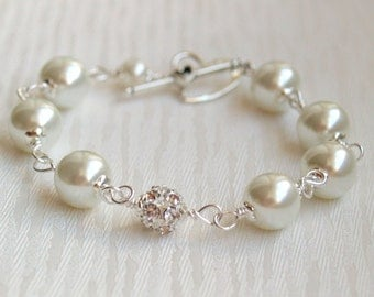 Ivory Swarovski Bridesmaid Bracelet Pearl Bracelet Bridesmaid Gift Bracelet Bridesmaid Jewelry Beaded Bracelet Wedding Party, Bridal Jewelry