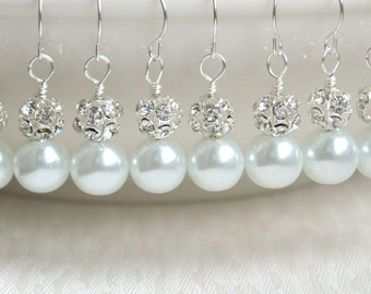 White Earrings Bridesmaid Gift Jewelry Earrings White Bridesmaid Earrings Pearl Bridesmaid Gift Earrings White wedding party earrings