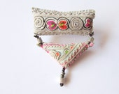 Textile Tribal Brooch, OAAK Beaded Fiber Recycled Ethnic White Gray Embroided  Women Jewelry