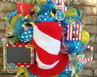 Dr. Seuss inspired ABC Teacher Wreath Classroom Wreath