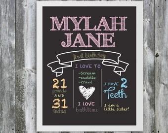 "11"" X 14"" Customizable Baby's First Birthday Chalkboard Art - Baby Stats - Baby Shower Gift - Nursery Decoration -First Birthday"