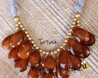Anthropologie Tortoise Brown Necklace, Bib Necklace, Toritoise Brown Statement Necklace, Teardrop Necklace, Statement Necklace